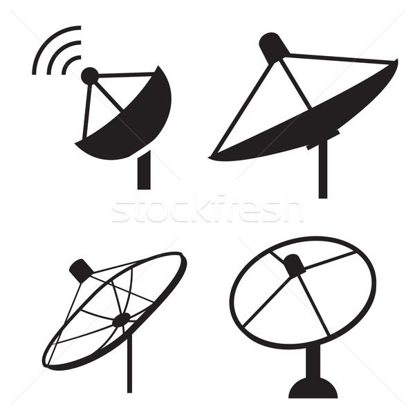 Szett sziluett parabolaantenna ikon gyűjtemény ikon vektor Stock fotó © jiaking1