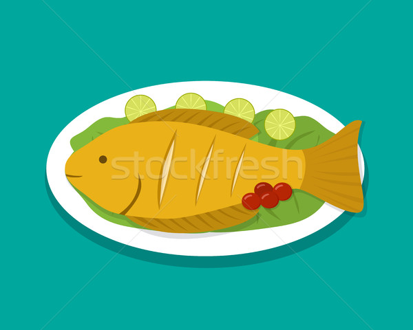 Top view fish fry on white plate, vector Stock photo © jiaking1