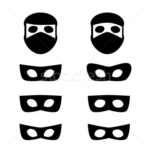 Ayarlamak maskeler hırsız ikon Stok fotoğraf © jiaking1