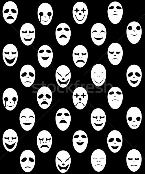 Sin costura blanco fantasma máscara patrón vector Foto stock © jiaking1