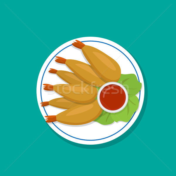 Top view, Fried prawn on white plate, vector Stock photo © jiaking1