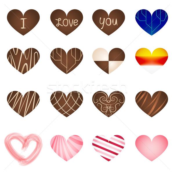 Set of art milk chocolate in heart shape Stock photo © jiaking1