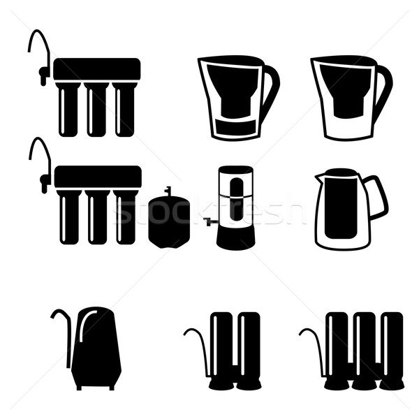 Szett víz szűrő fekete sziluett ikon gyűjtemény Stock fotó © jiaking1