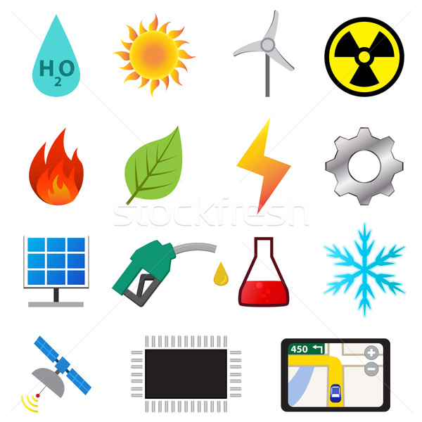 Set of power and energy system in flat color icons Stock photo © jiaking1