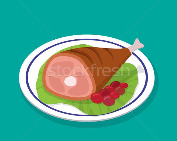 A la parrilla pierna filete blanco placa ensalada Foto stock © jiaking1