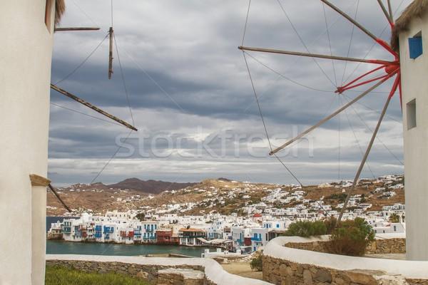 Iki görmek Yunanistan boşluk dramatik gökyüzü Stok fotoğraf © jirivondrous