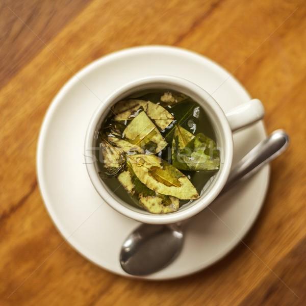 Csésze tea fa asztal átló vonalak Stock fotó © jirivondrous