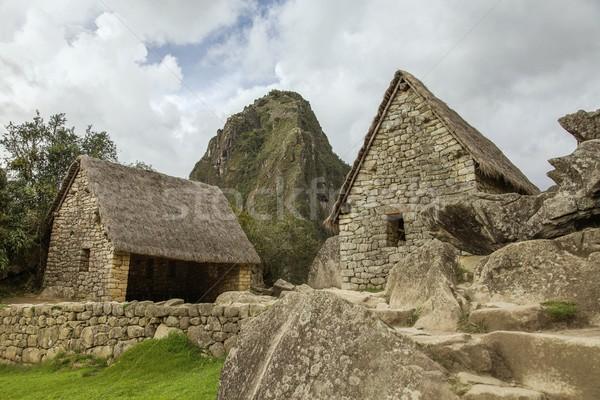 Machu Picchu Peru ören iki evler bulutlu Stok fotoğraf © jirivondrous