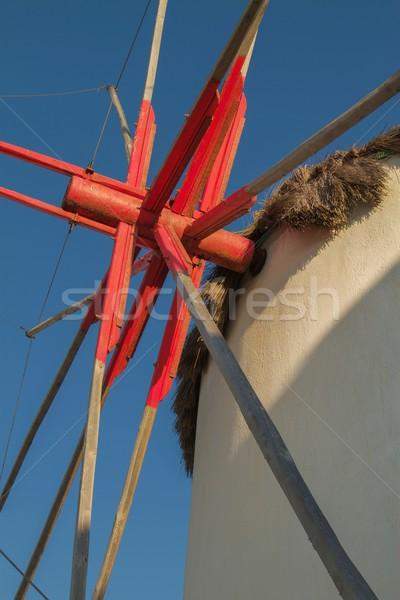 Részlet szélmalom Görögország tenger nyár kék Stock fotó © jirivondrous
