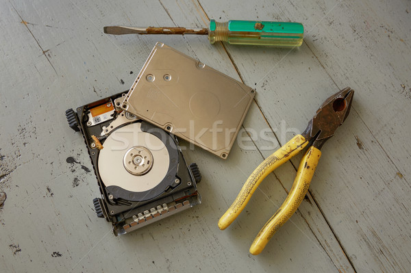 Broken and Destroyed Hard Drive Disk and Tools on Wooden Table Stock photo © jirivondrous