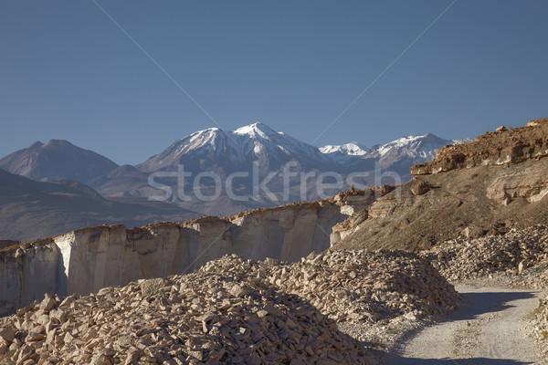 Sillar Stone Quarry and volcano Chachani in Arequipa Peru Stock photo © jirivondrous