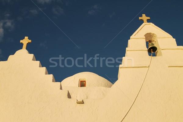 Kilise gün batımı görmek Yunanistan güzel sarı Stok fotoğraf © jirivondrous