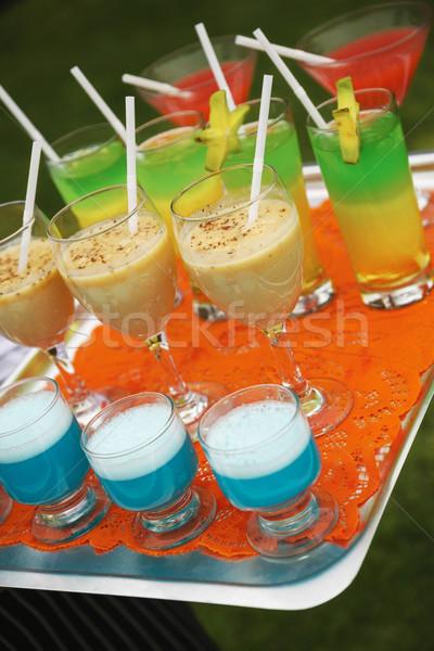 Alkohol szett pincér tálca buli gyümölcs Stock fotó © jirivondrous