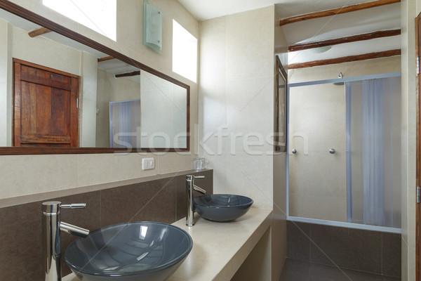 Fürdőszoba krém csempézett falak ház fal Stock fotó © jirivondrous