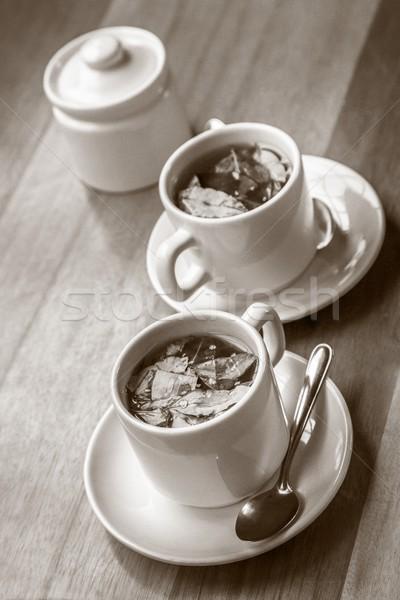 çay şeker ahşap masa yaprak fincan Stok fotoğraf © jirivondrous
