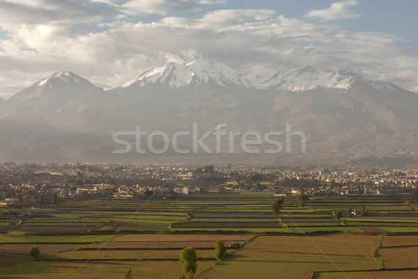 City of Arequipa, Peru with its iconic fields and volcano Chachani Stock photo © jirivondrous