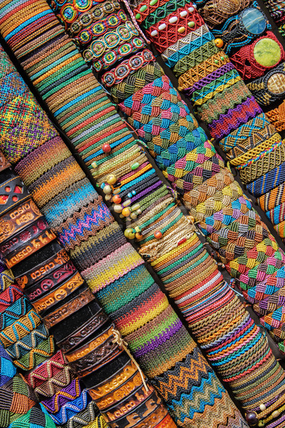 Handmade Peruvian Bracelets in Market Cusco Peru Stock photo © jirivondrous