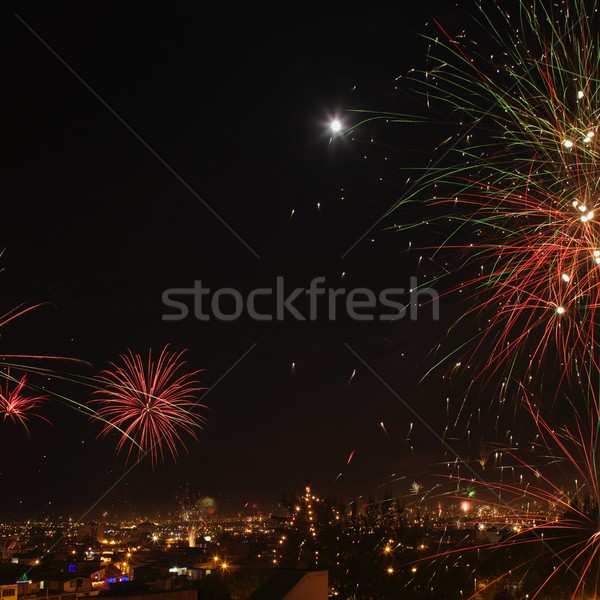 Nieuwe jaren vuurwerk stad Peru vierkante Stockfoto © jirivondrous