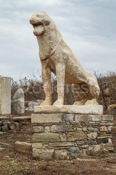 Heykel aslan ada arka plan seyahat tarih Stok fotoğraf © jirivondrous