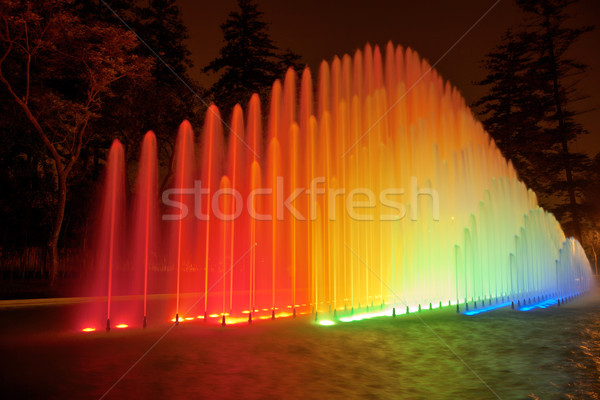Beautiful colorful fountain at night in Park of the Reserve, Lima Stock photo © jirivondrous