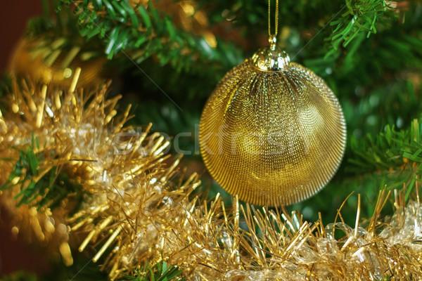 Рождества украшение дерево золото цепь горизонтальный Сток-фото © jirivondrous