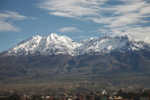 City of Arequipa in Peru with its iconic volcano Chachani Stock photo © jirivondrous