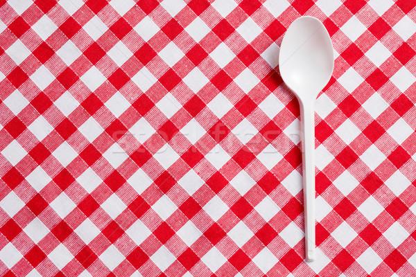 Stok fotoğraf: Plastik · kaşık · masa · örtüsü · gıda · akşam · yemeği