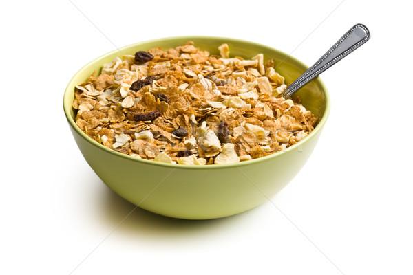 Knapperig müsli kom witte voedsel achtergrond Stockfoto © jirkaejc