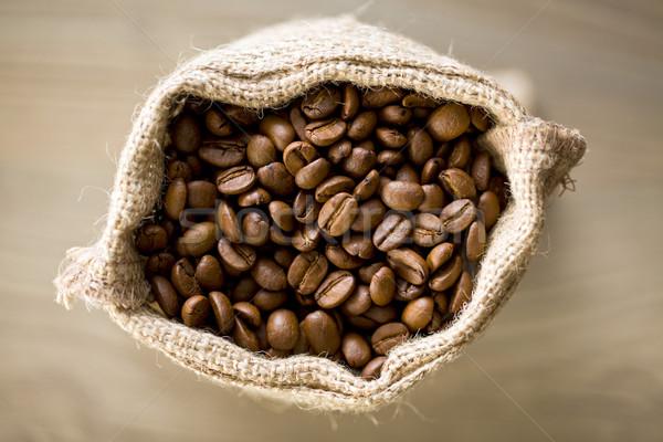 Kahve çekirdekleri çuval bezi üst görmek arka plan Stok fotoğraf © jirkaejc