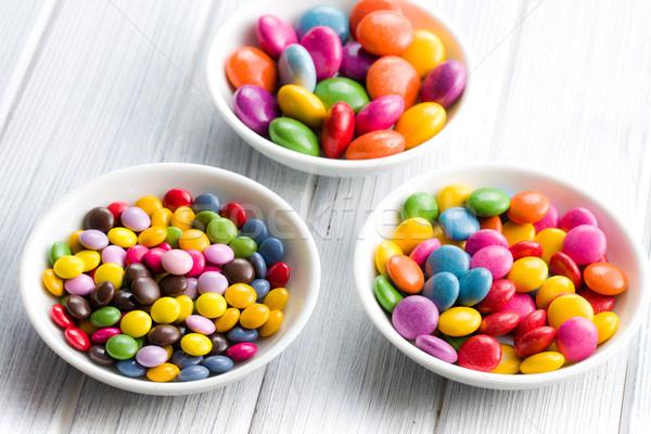 Trzy inny kolorowy ceramiczne kręgle Zdjęcia stock © jirkaejc