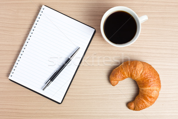 croissant with coffee and notepad Stock photo © jirkaejc