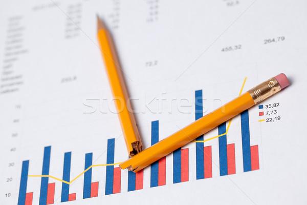 financial graph and broken pencil Stock photo © jirkaejc