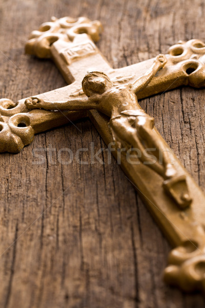 crucifix on wooden background Stock photo © jirkaejc