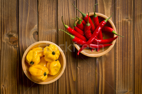 red chili peppers and habanero on wooden table Stock photo © jirkaejc