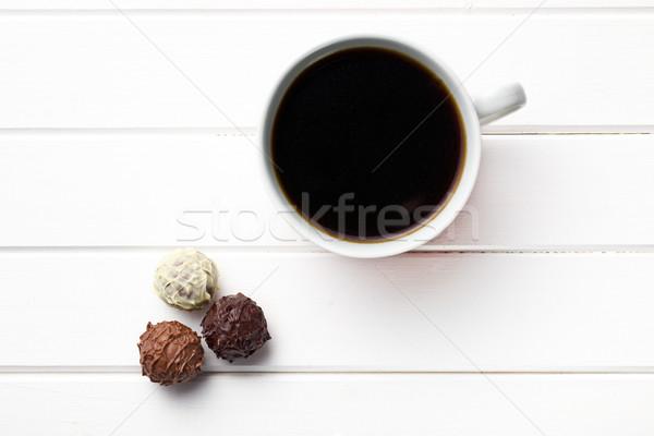 Zwarte koffie chocolade top achtergrond beker Stockfoto © jirkaejc
