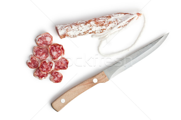 Stockfoto: Witte · salami · worst · koe · varken · vet