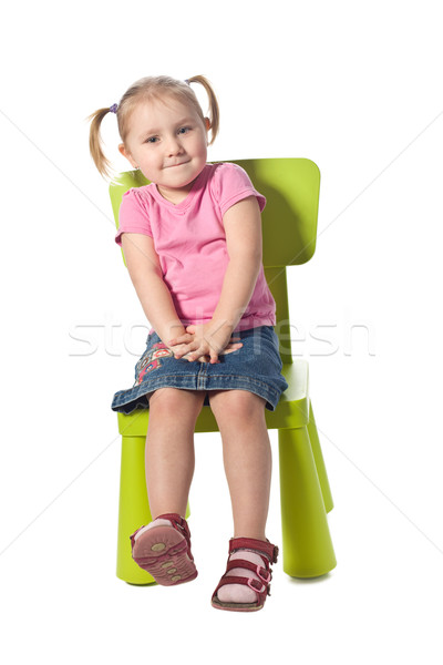Weinig kind stoel glimlach schoonheid groene Stockfoto © jirkaejc