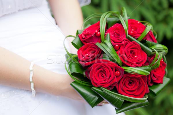 Stockfoto: Boeket · bruiden · handen · bloem