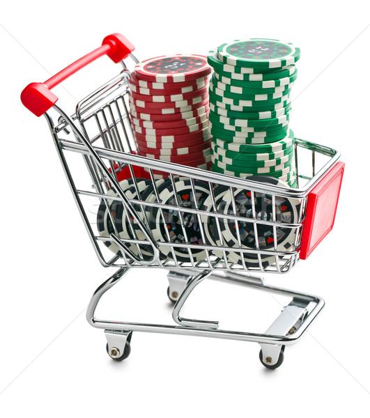Póker zsetonok bevásárlókocsi fehér piac marketing vásár Stock fotó © jirkaejc