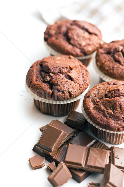 border of chocolate muffins Stock photo © jirkaejc