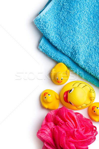 yellow bath ducks and bath puff Stock photo © jirkaejc