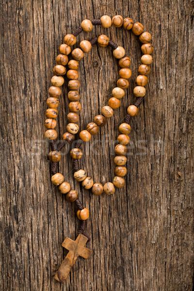 Legno rosario perline vecchio legno sfondo Foto d'archivio © jirkaejc
