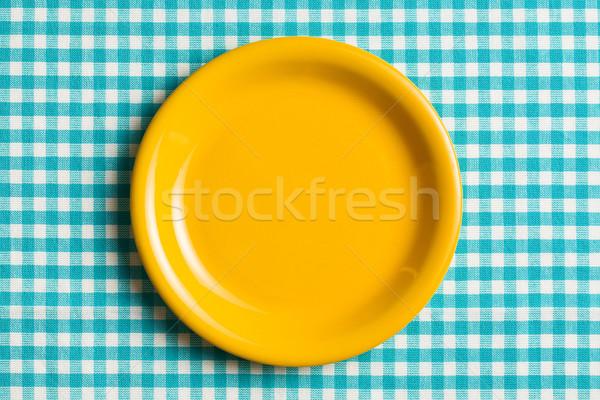 Boş plaka masa örtüsü arka plan mavi Stok fotoğraf © jirkaejc