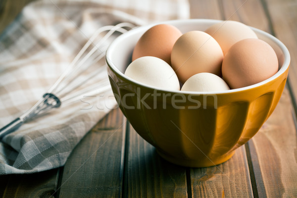 chicken eggs in bowl Stock photo © jirkaejc