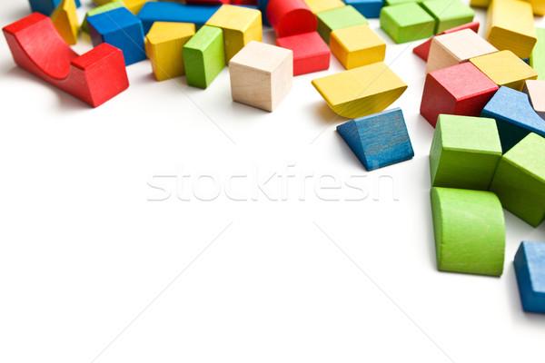 Houten speelgoed blokken witte bouw onderwijs Blauw Stockfoto © jirkaejc