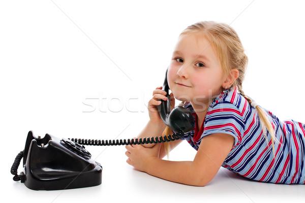 ストックフォト: 女の子 · 古い · レトロな · 電話 · 白