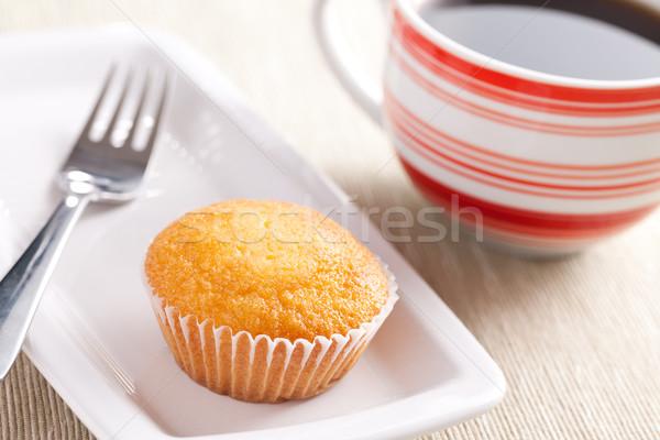 Zoete muffin foto shot voedsel koffie Stockfoto © jirkaejc