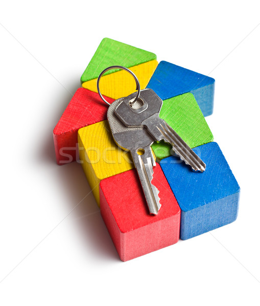 house made from wooden toy blocks with keys Stock photo © jirkaejc
