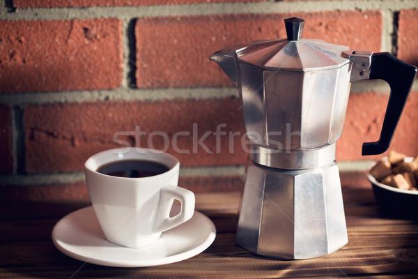 Koffiemok koffiezetapparaat koffie groep cafe energie Stockfoto © jirkaejc