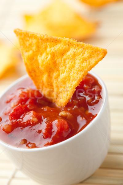 Foto stock: Nachos · tomate · salsa · foto · tiro · rojo